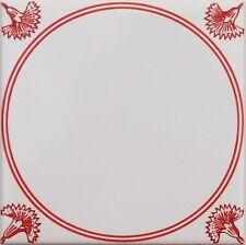 Fliesen Delfer Art, Ornament rot  weiß 15x15 Kacheln mit Eckdekor Nelken neu!