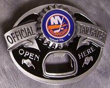 NHL Pewter Belt Buckle New York Islanders built in bottle opener NEW MADE IN USA