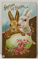 Greeting at Easter Large Bunny Rabbits With Egg to Schenectady NY Postcard A17