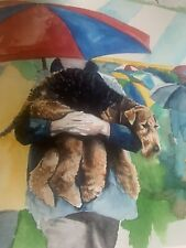 Airedale Terrier Watercolor print dog show Montgomery signed 65/100