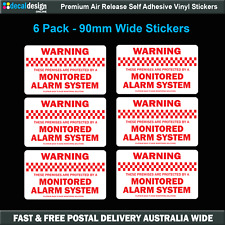 Mointored Security Alarm Warning Stickers home or office x6 RED #S510
