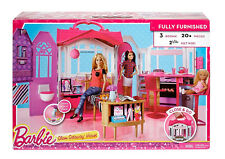 Mattel Barbie Glam Getaway House Furnished Playset 3 Rooms 20+ Pieces
