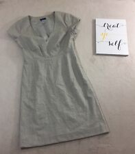 J.Crew Cap sleeve dress Beige Sz 8 Wool Pleated V-Neck Career Business - X223