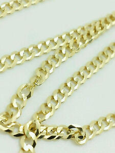 """10K Yellow Gold Cuban Link Chain Necklace 16"""" 18"""" 20"""" 22"""" 24"""" 26"""" 30"""" Curb Chain"""