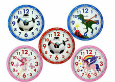 Time Teacher Kids Room 25cm Time Learning Support Wall Clock in Various Designs