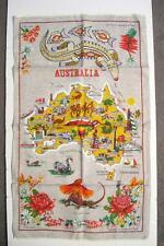 Vintage Australia Map Tea Towel By HEIL - Crisp Fabric / Unused ? Condition!