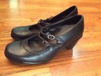DANSKO Women's Heels Mary Jane Style Sz 38 US 7.5 8 Black Leather Strap Portugal