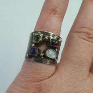 Lovely Solid Silver Multi Stone Ring Size N-O