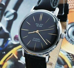 Vintage Watch Poljot De Luxe ULTRA SLIM Black Dial Dress Men's WristWatch USSR