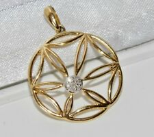 9ct Yellow Gold Diamond Ladies Pendant - UK Hallmarked