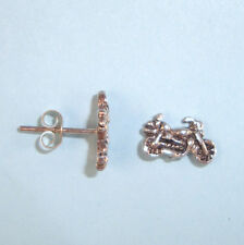 """Men's Boy's Unisex Motorcycle Earring Pair Sterling Silver, Posts 1/2"""" wide USA"""