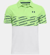 *New* Under Armour Boys Performance Wordmark Polo Lime/White (S,M,L,Xl)