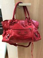 BALENCIAGA City Hand Tote Shoulder Bag Red Leather Used