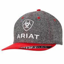 Ariat Western Mens Hat Baseball Cap Mesh Snap Shield Logo Grey Red 1509906