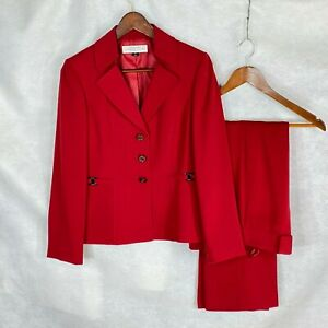 Tahari petite womens deep red polyester pants suit w designer buttons 4P :