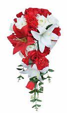 Rose,Lily,Red,White-Silk Flower Bridal Cascade Wedding Bouquet Silk Flower