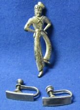 WWII Sterling Navy Sailor Sweetheart Pin & Army 1st Lt. Earrings Set Lot Of 3