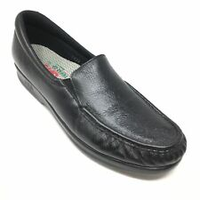 Women's SAS Twin Loafers Shoes Size 10.5 S Black Leather Casual Slip On E10