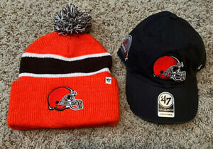 47 Brand Cleveland Browns Season Ticket Winter Beanie & Adjustable Cap LOT NEW