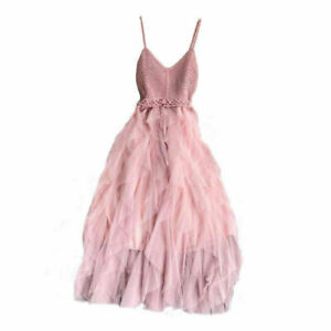 Lady Lolita Ruffle Mesh Dress V Neck Knit Cami Tulle Elastic Fairy Prom Gown
