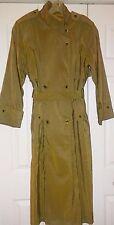 Jones New York Iridescent Golden Olive Long Rain Trench Coat Women's Size S - M