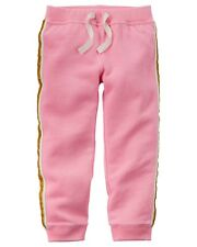 Carter's Girl Sparkle Stripe Pink French Terry Joggers (Size 5)