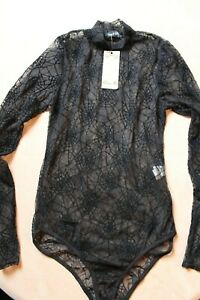 Boohoo Mesh Body Size 14 New with Tags Black Spider Web Bodysuit Lingerie