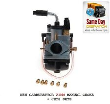 NEW UNIVERSAL CARBURETTOR 21MM MANUAL CHOKE + 6 JETS MOPED SCOOTER MOTORCYCLE