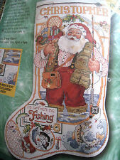 Christmas Bucilla Counted Cross Stocking KIT,FISHING SANTA,2 Way Chart,824100,18
