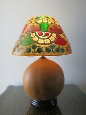 Vintage Artisan Handmade Table Lamp Authentic Gourd w/ Hand Painted Hide Shade
