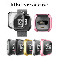 Fitbit Versa Silicone Ultra thin TPU Shell Case Screen Protector Frame Cover