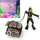 Diver Treasure Chest Shaped Action Air Ornament Fish Tank Aquarium Decor