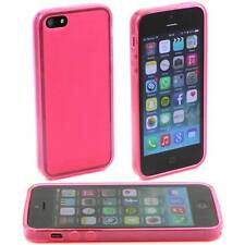 PINK APPLE iPHONE 5 / 5G SOFT GEL SILICONE RUBBER CASE: FROSTED BACK TPU M28