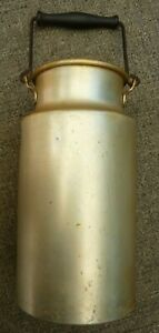 Vintage Aluminum Milk Jug Pail Bucket Swinging Wooden Handle Made in Germany