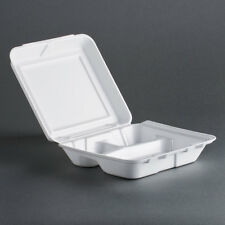 200 Dart Carryout Food Container, Foam, 3 Compartment, White, 8 x 7 1/2 x 2