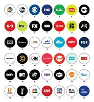 "TV NETWORK CHANNEL LOGOS - pinback buttons - Choose 10 total 1"" pins badges"