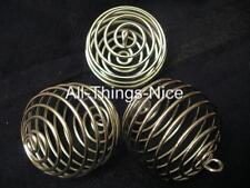 40mm XXL Pendant Bead Spiral Wire BIG SILVER CAGES Jewellery Making Findings 10
