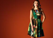 GOK WAN Size 8 FLARED HEM FULL CIRCLE vintage DRESS GREEN rockabilly NEW