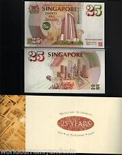 SINGAPORE 25 DOLLARS P33 1995 MAS COMMEMORATIVE UNC LION CURRENCY NOTE + FOLDER