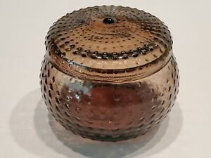 IKEA Brown blown glass Bowl w/ Lid Modern Hobnail Raised Dots hand made Yngaren