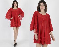 Vintage 80s Red Ethnic Crochet Lace Sheer Gauze Kimono Angel Sleeve Mini Dress