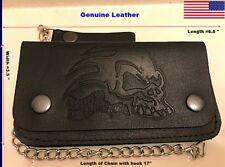 Genuine-Leather-Motorcycle-Trucker-Biker-Chain-Wallet-inside-Zipper-Black. B22