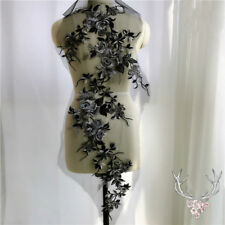 Black Lace Embroidery Floral Applique Patch Handmade Wedding Dress Decor New