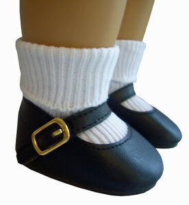 Basic Black Mary Jane Shoes & Ankle Socks works for American Girl Molly Doll