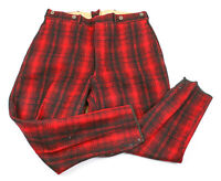 Vintage Woolrich: Wool Hunting Lace Up Pants - Black & Red Plaid, 34x28