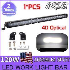 25 Inch 120W 4D Lens CREE LED Light Bar Spot Single Row Off-road Driving Lamp HT