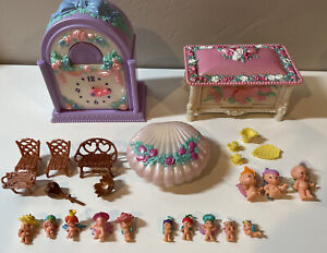 Vtg. Fairywinkles Fairy Winkle Lot Figures Jewelry Box Cottage Shell Furniture