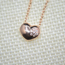 "Shiny Rose Gold PL Cute Love Heart Crystal Flower Pendant Chain Necklace 18""Gift"