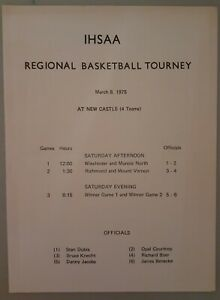 1975 Indiana High School Regional Basketball Tournament Program