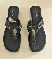 White Mountain Womens Sandals Size 9.5M Black Silver Embellishment Flip Flops
